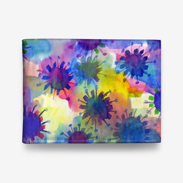 Кошелек «Акварельные кляксы на разноцветном фоне»