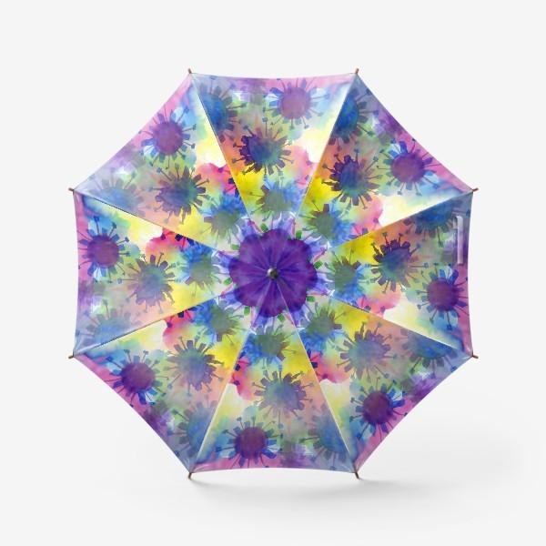 Зонт «Акварельные кляксы на разноцветном фоне»
