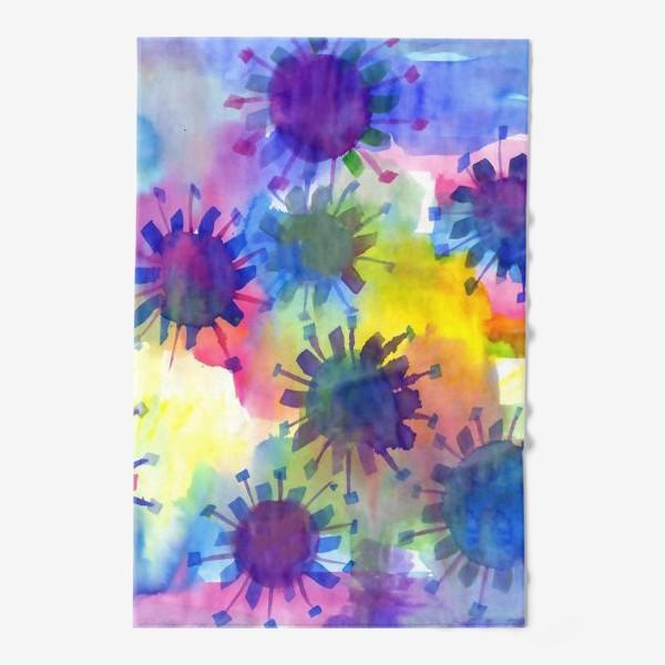 Полотенце «Акварельные кляксы на разноцветном фоне»