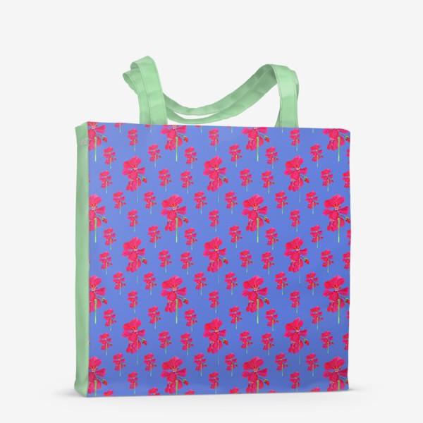 Сумка-шоппер «красная герань паттерн на синем»