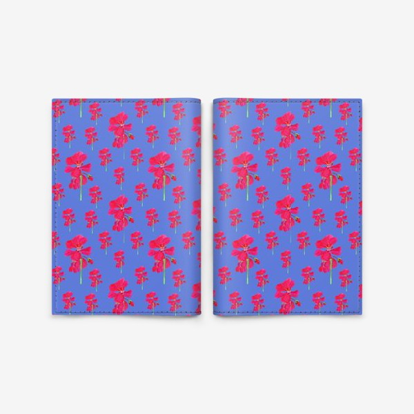 Обложка для паспорта «красная герань паттерн на синем»