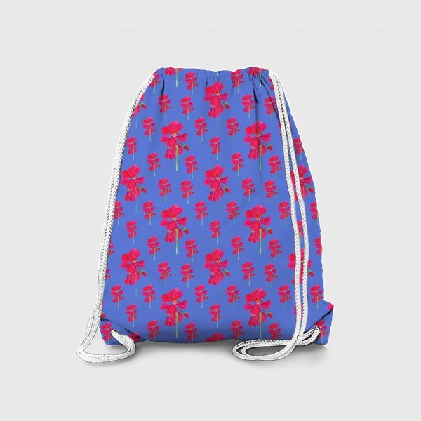 Рюкзак «красная герань паттерн на синем»