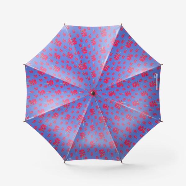 Зонт «красная герань паттерн на синем»