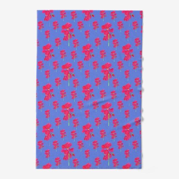 Полотенце «красная герань паттерн на синем»