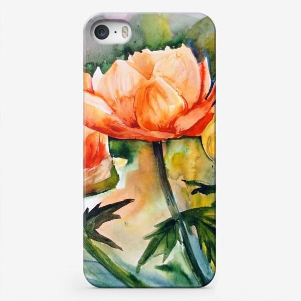 Чехол iPhone «Акварельный яркий пейзаж из желто-оранжевых цветов и бабочки на размытом фоне»