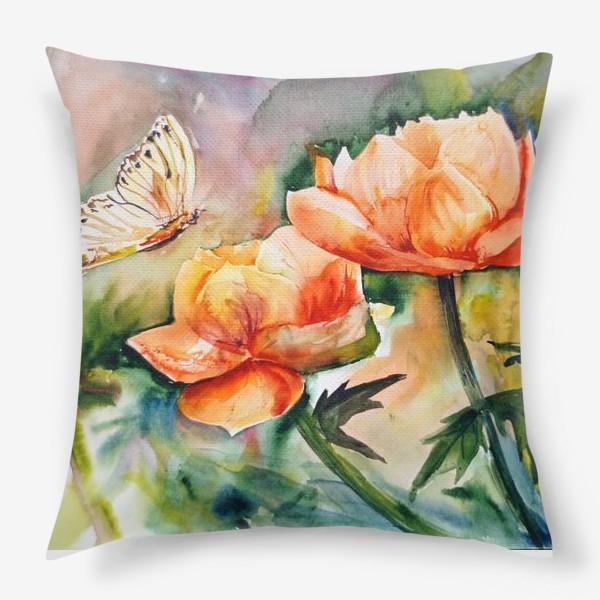 Подушка «Акварельный яркий пейзаж из желто-оранжевых цветов и бабочки на размытом фоне»