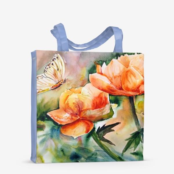 Сумка-шоппер «Акварельный яркий пейзаж из желто-оранжевых цветов и бабочки на размытом фоне»