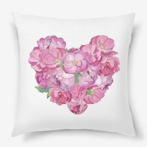 Подушка «Pink Flower Heart»