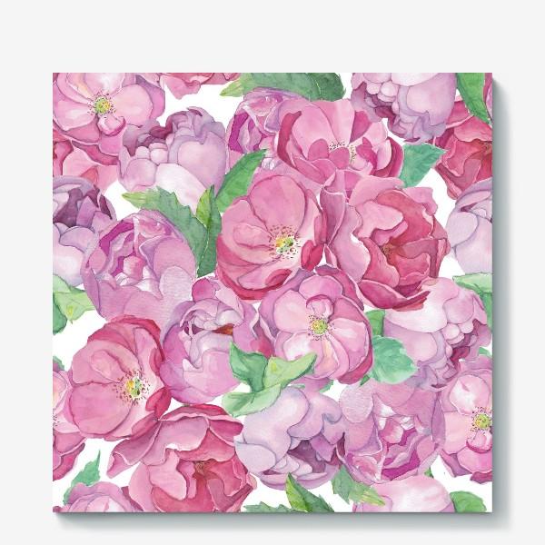 Холст «Flower Power (pink peonies&roses)»