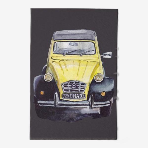 Полотенце «Жёлтый ретро автомобиль на тёмном фоне»