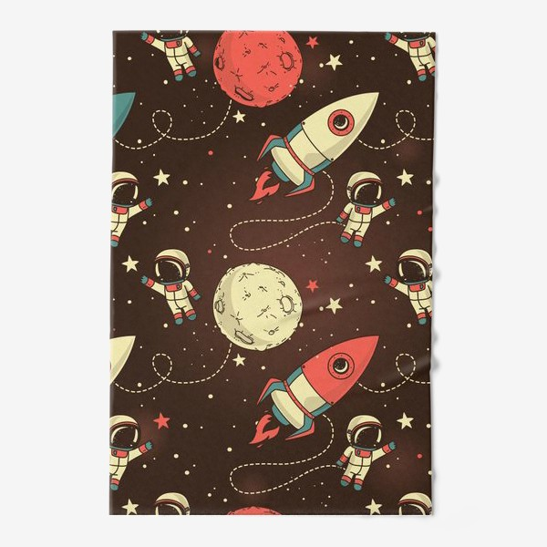 Полотенце «Паттерн с космонавтами, планетами и ракетами»