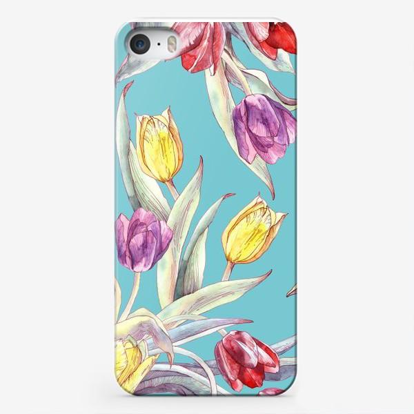 Чехол iPhone «Тюльпановый паттерн на бирюзовом фоне»