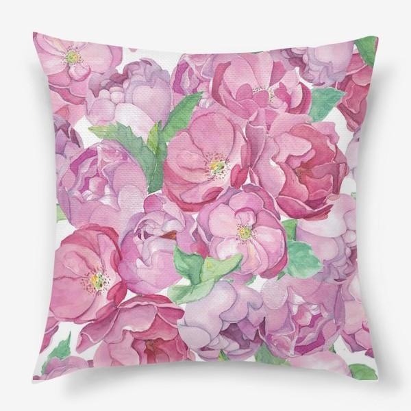 Подушка «Flower Power (pink peonies&roses)»