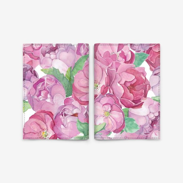 Обложка для паспорта «Flower Power (pink peonies&roses)»