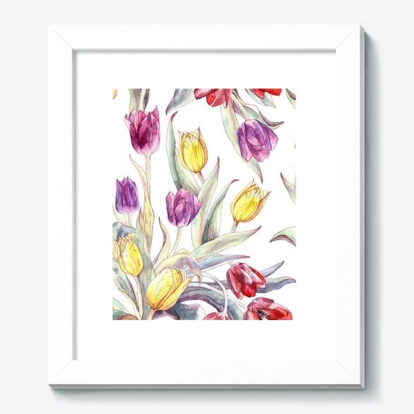 Картина «Тюльпановый паттерн на белом фоне»