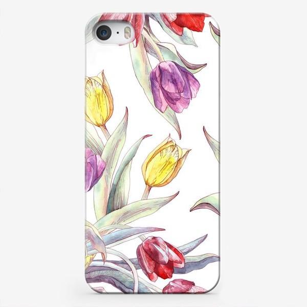 Чехол iPhone «Тюльпановый паттерн на белом фоне»