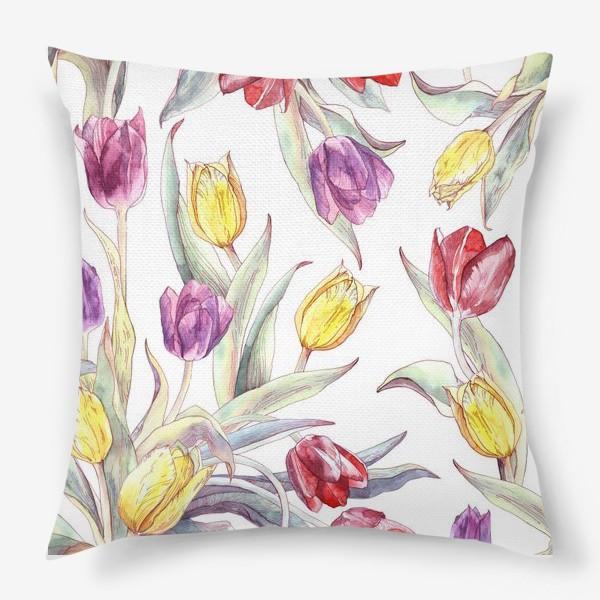 Подушка «Тюльпановый паттерн на белом фоне»