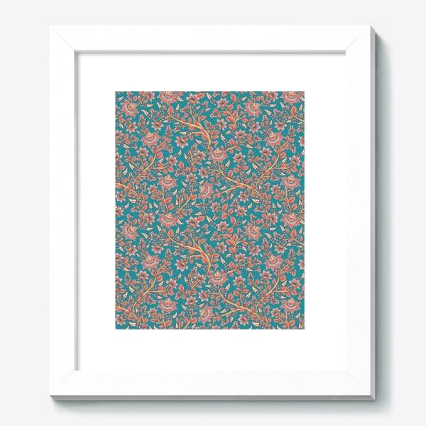 Картина «Бесшовный декоративный паттерн с цветами на бирюзовом фоне. »