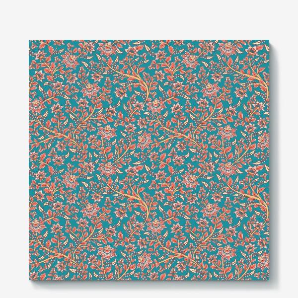 Холст «Бесшовный декоративный паттерн с цветами на бирюзовом фоне. »