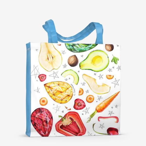 Сумка-шоппер «Фрукты, овощи и камни веган»