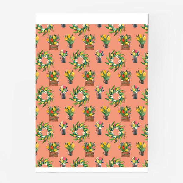 Постер «Паттерн весенние цветы»