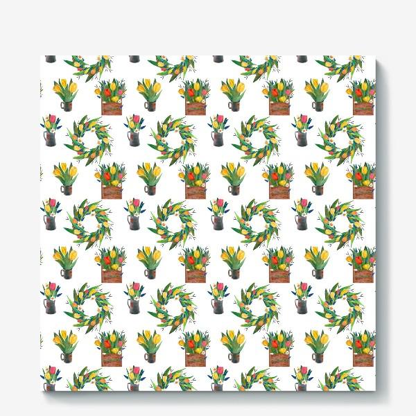 Холст «Паттерн весенние цветы»