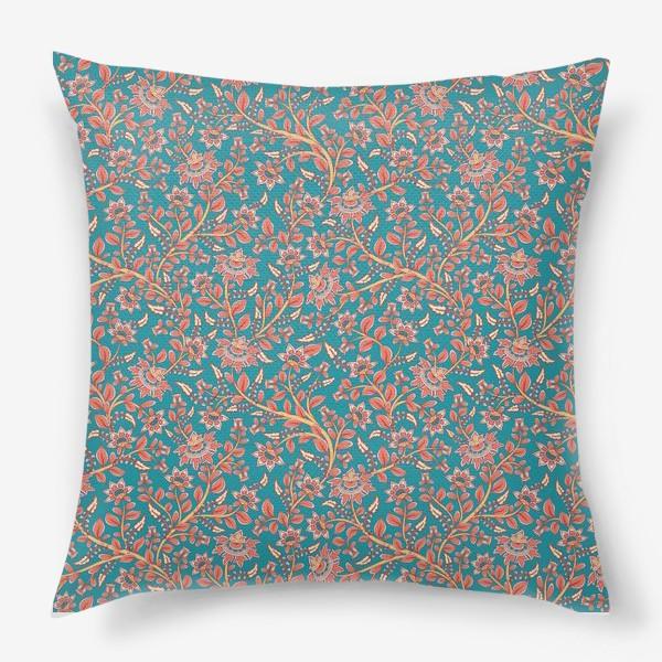 Подушка «Бесшовный декоративный паттерн с цветами на бирюзовом фоне. »