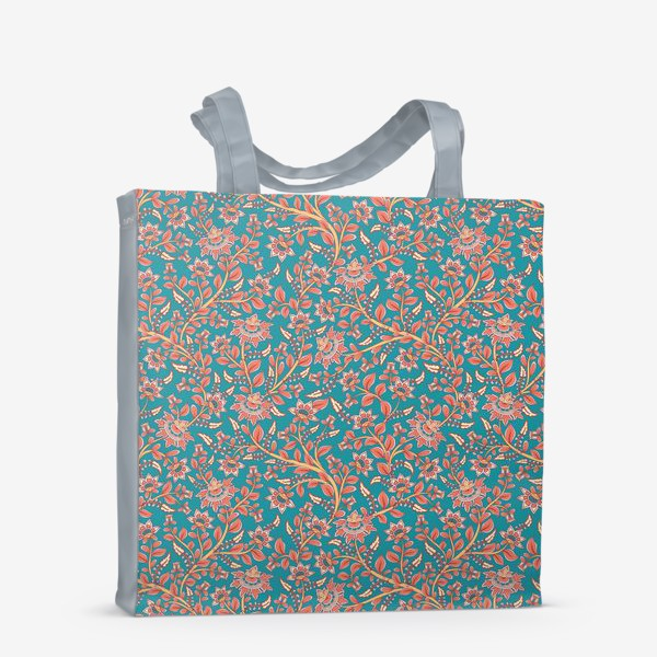 Сумка-шоппер «Бесшовный декоративный паттерн с цветами на бирюзовом фоне. »