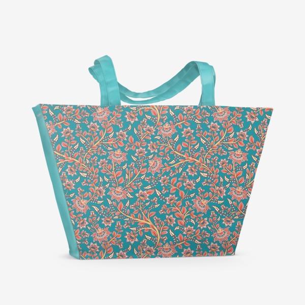 Пляжная сумка «Бесшовный декоративный паттерн с цветами на бирюзовом фоне. »