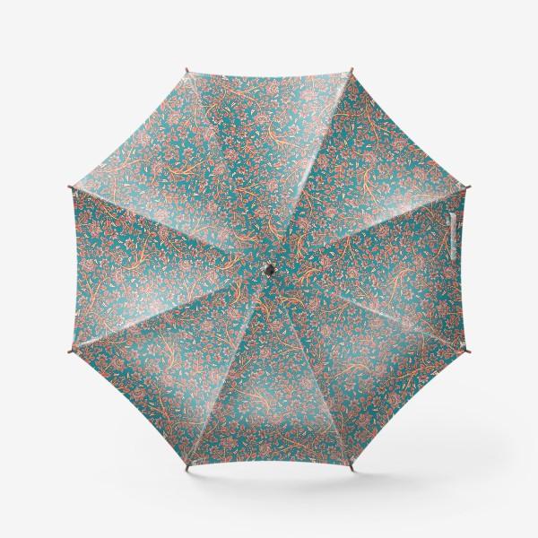 Зонт «Бесшовный декоративный паттерн с цветами на бирюзовом фоне. »
