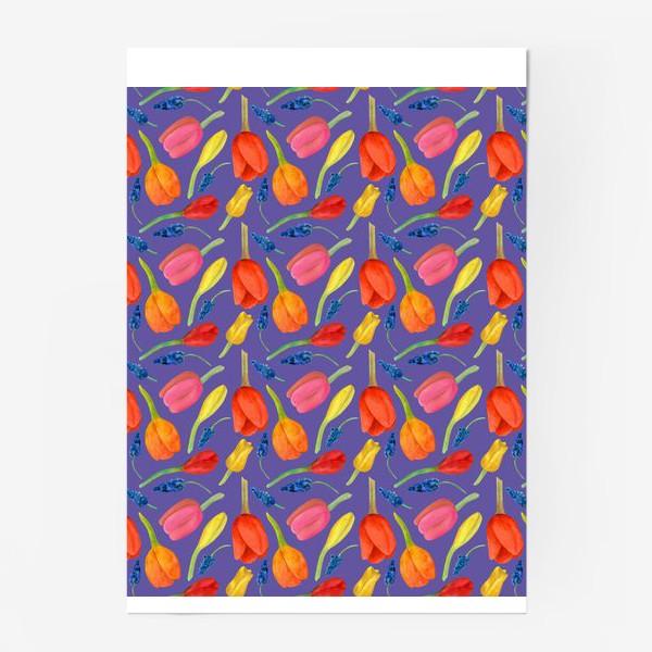 Постер «Паттерн весенние цветы на фиолетовом фоне»