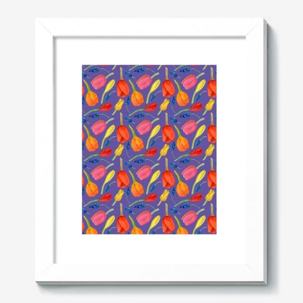 Картина «Паттерн весенние цветы на фиолетовом фоне»