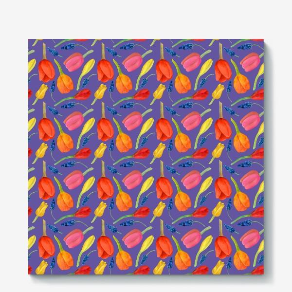 Холст «Паттерн весенние цветы на фиолетовом фоне»