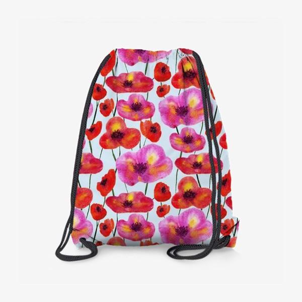 Рюкзак «маки цветочный узор на голубом»