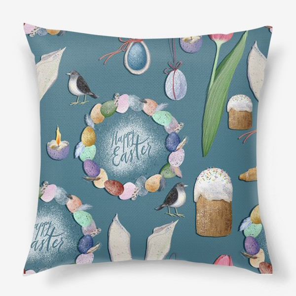 Подушка «Счастливой Пасхи! Паттерн.»