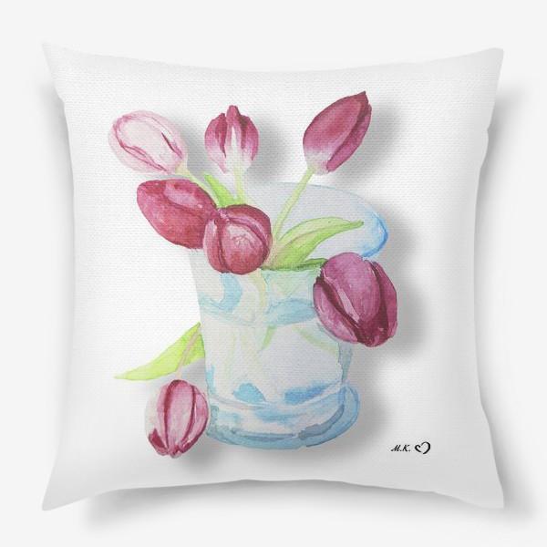 Подушка «Тюльпаны в стакане Tulips»