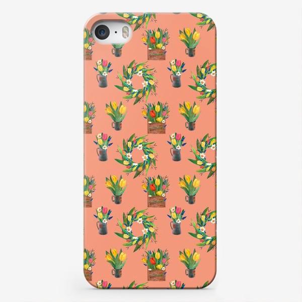 Чехол iPhone «Паттерн весенние цветы»