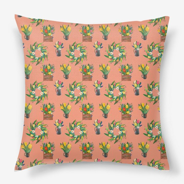Подушка «Паттерн весенние цветы»