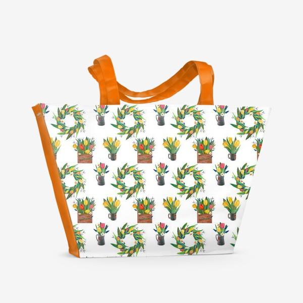 Пляжная сумка «Паттерн весенние цветы»