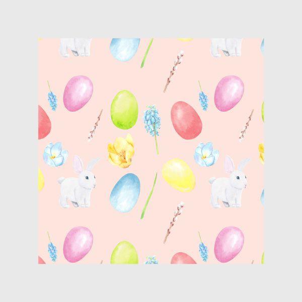 Скатерть «Пасха. Традиционные элементы кролик, яйца, цветы, верба. Акварельный весенний паттерн на розовом фоне»