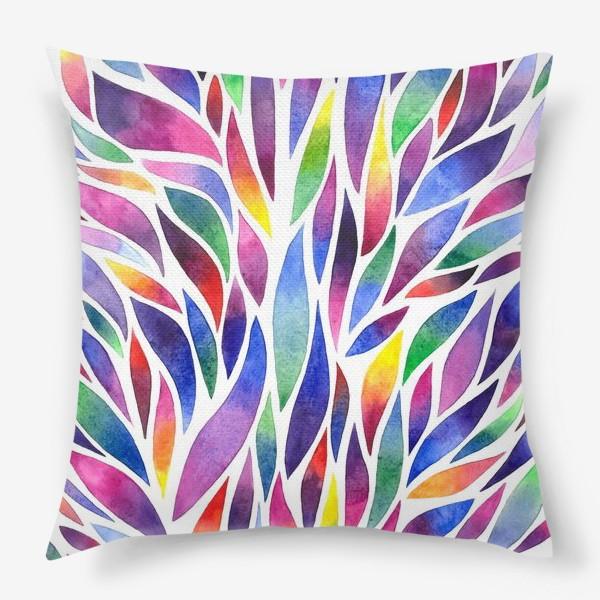 Подушка «Разноцветная акварельная абстракция»