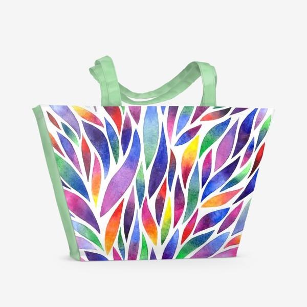 Пляжная сумка «Разноцветная акварельная абстракция»