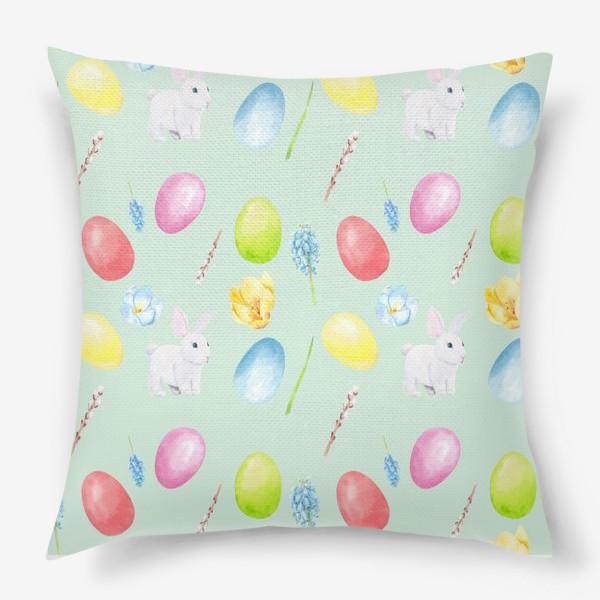 Подушка «Пасха. Традиционные элементы кролик, яйца, цветы, верба. Акварельный весенний паттерн на зеленом фоне»