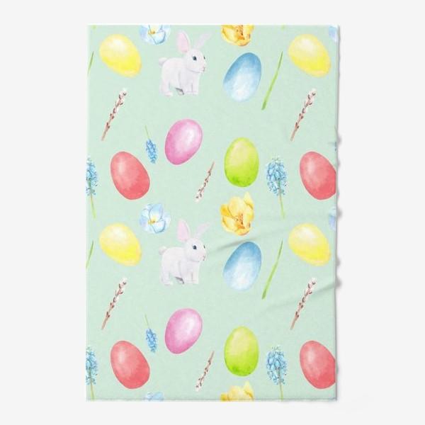 Полотенце «Пасха. Традиционные элементы кролик, яйца, цветы, верба. Акварельный весенний паттерн на зеленом фоне»