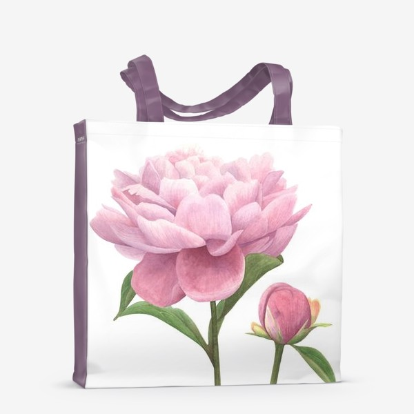 Сумка-шоппер «Розовый пион с бутоном»