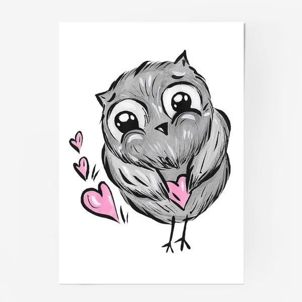 Постер «Сова с сердечками»