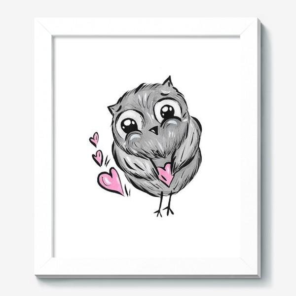 Картина «Сова с сердечками»