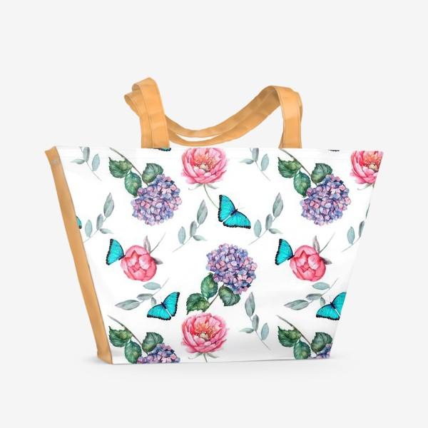 Пляжная сумка «Весенняя. Гортензия/ Пионы/Бабочки»