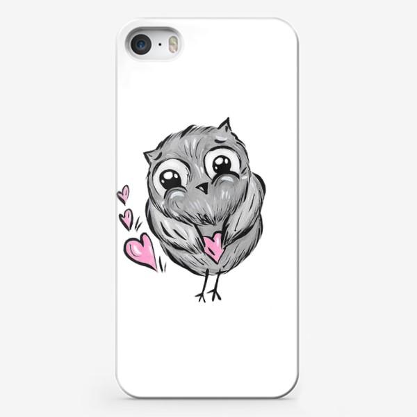 Чехол iPhone «Сова с сердечками»