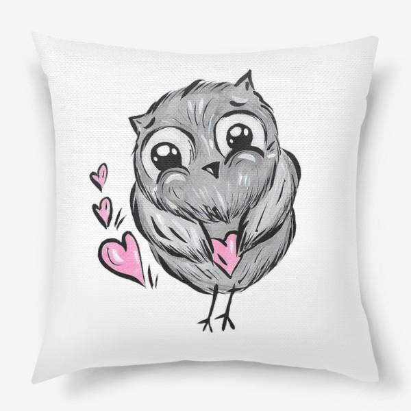 Подушка «Сова с сердечками»